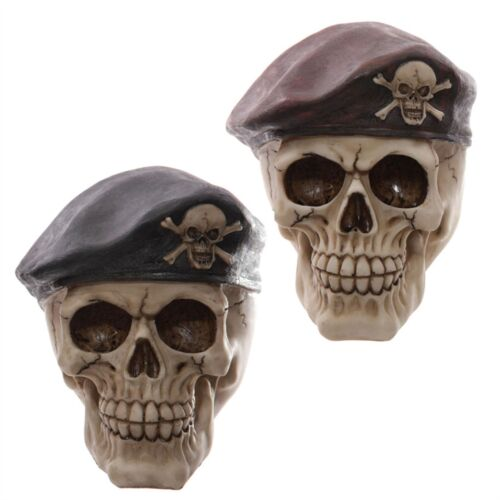 Gruesome Skull Red Beret Blue Beret 13.5cm High Forces Military Para Cap Gothic