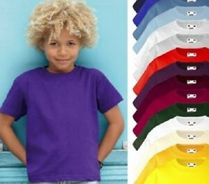 Fruit-of-the-Loom-Plain-Cotton-Kids-Childrens-Childs-Boys-Girls-Tee-T-Shirt
