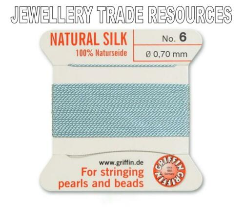 TURQUOISE SILK STRING THREAD 0.70mm STRINGING PEARLS /& BEADS GRIFFIN SIZE 6