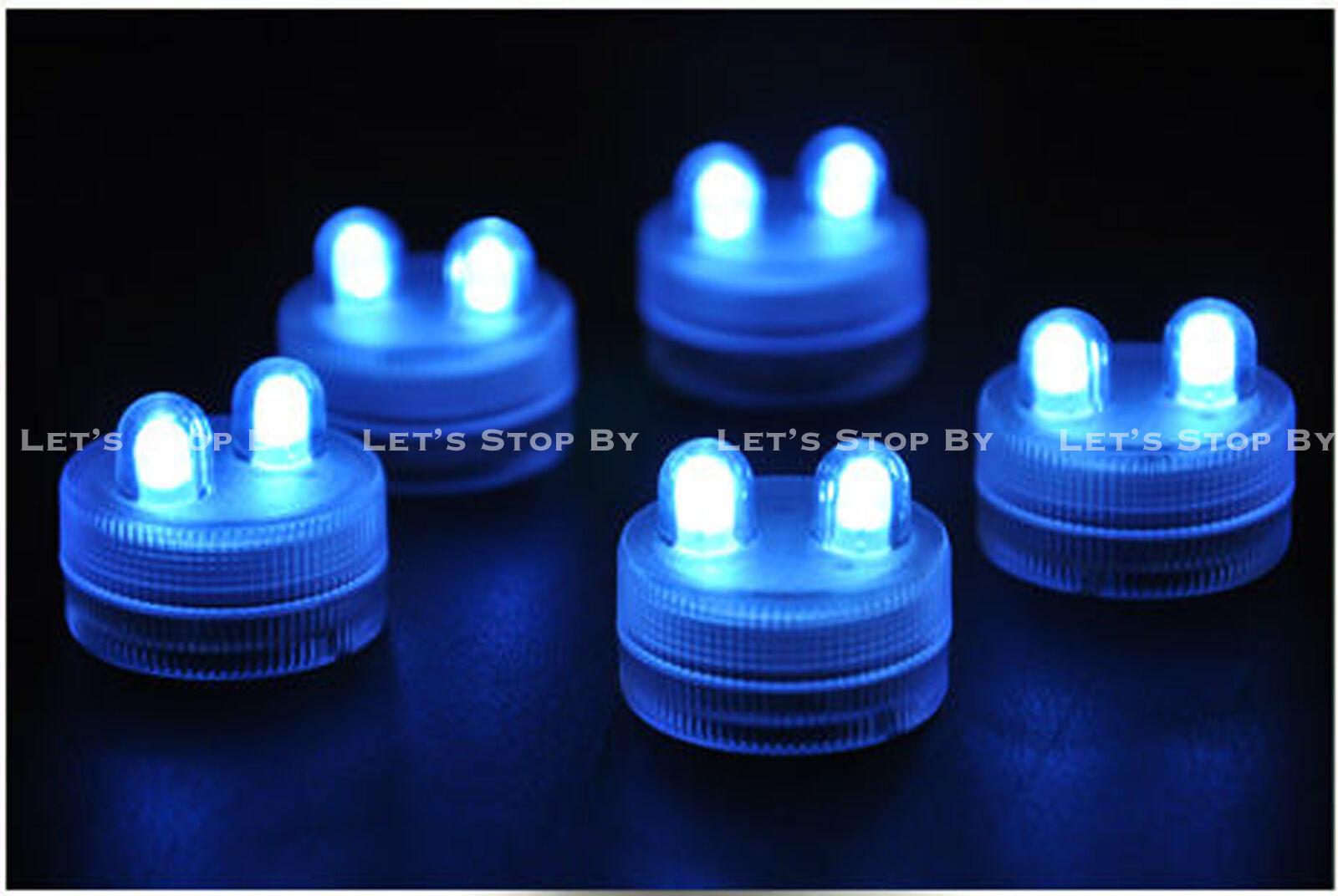 70 Bleu Super Lumineux Double DEL Tea Light Submersible Floralyte Mariage Fête