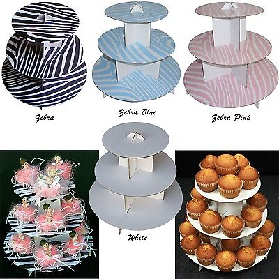 """12"""" 3 Tier Cardboard Cupcake Cake Stand Display Snacks Table Party Decor Plate"""