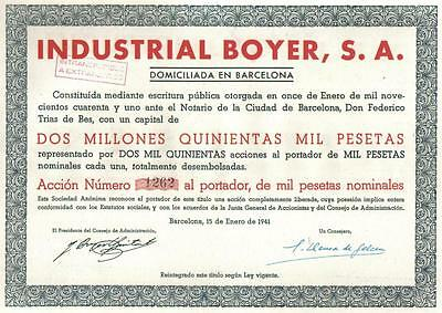 Original Spain WWII bond 1941 Industrial Boyer Co 1000