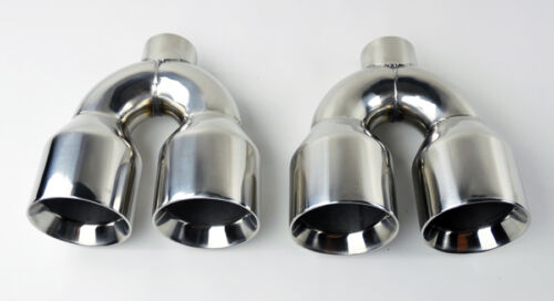 """Dual 4/"""" Quad Style Stainless Steel Exhaust Tips Fits Audi S5 2008-2016"""