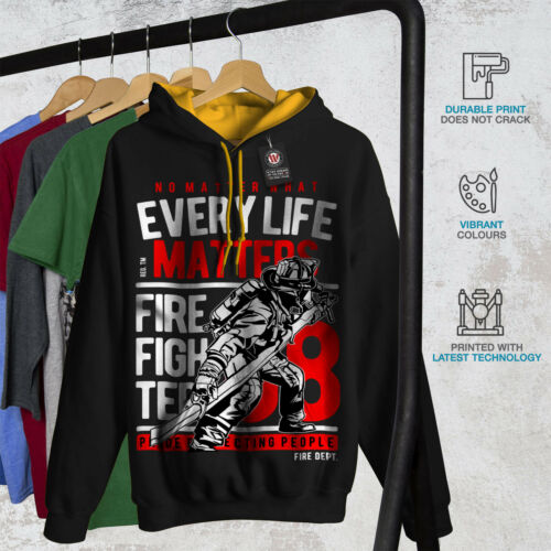 cappuccio Contrast Save New Men oro Black Hoodie Firefighter Lives CT1OwCq
