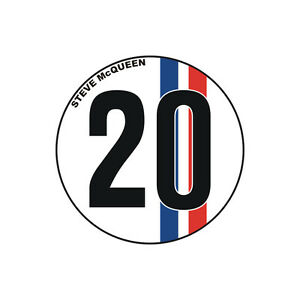 Sticker-plastifie-NUMBER-20-Steve-McQueen-Le-Mans-6cm-x-6cm