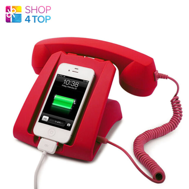RETRO HANDSET DOCK DESK SMARTPHONE MOBILE PHONE iPHONE RED 3.5MM NOVELTY GIFTS