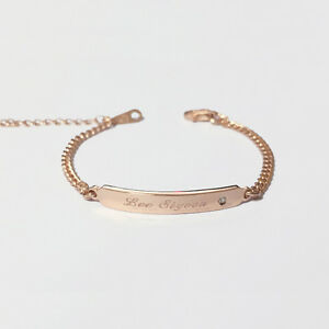 Image Is Loading Baby Id Bracelet Personalized Engraved Name Gold Plated