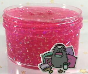 SCENTED-Clear-SLIME-034-GAMER-GIRL-034-BINGSU-Beads-Crunchy-PINK-Glitter-Charm-6-8-oz
