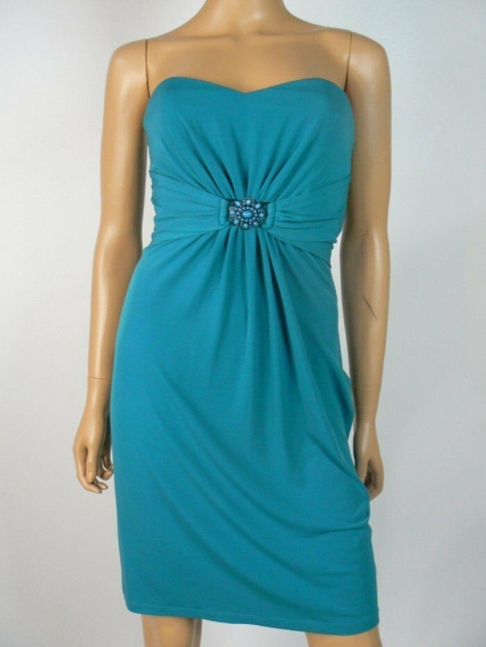 Laundry  Shelli Segal Aqua bluee Ruched Jersey Strapless Sheath Dress 4 NEW L285