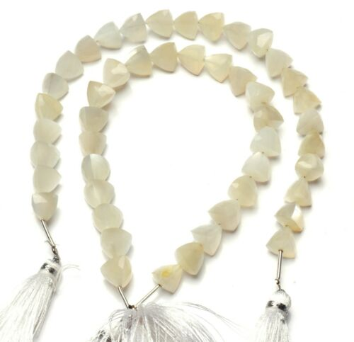 """Details about  /Natural Gemstone White Moonstone 9MM Size Faceted 3D Trillion Shape Beads 9/"""""""