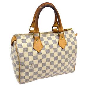 4b60a60e8 AUTHENTIC LOUIS VUITTON SPEEDY 25 HAND BAG PURSE DAMIER AZUR N41534 ...