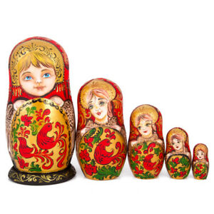Image Is Loading Russian Nesting Doll Khokhloma Patterns Red Roosters 5