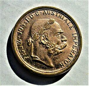 Osterreich-1904-patriotische-Medaille-Franz-Josef-I-Kupfer-vergoldet-vz