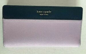 New Kate Spade Cameron Large Slim Bifold Leather wallet Lavender Blue