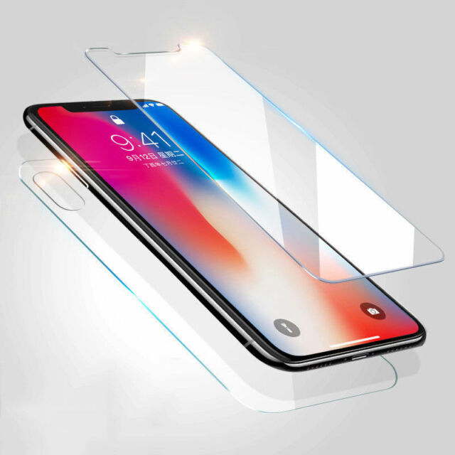 2Pcs Premium Front+Back Tempered Glass Screen For iPhone X XR XS MAX 6S 7 8 Plus
