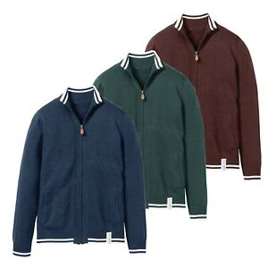 Mens-Full-Zip-Up-Cardigan-Knitted-Funnel-Neck-Collar-Sweater-Long-Sleeve-Jumper