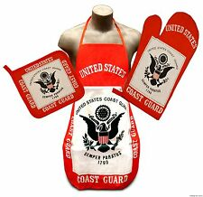 Coast Guard Flag Kitchen & BBQ Set *NEW* w/ Apron Oven Mitt & Pot Holder US Seal
