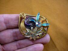 (Z-22-17) Black spiral dot swirl iridescent flower Czech glass button brooch