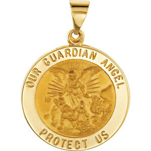 Guardian ANGEL Pendant Medal 21 mm 14k Yellow Gold Round Religious