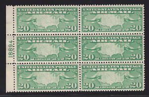 US-Sc-C9-MNH-1920-20c-yellow-green-Map-Side-Plate-Block-of-6-VF
