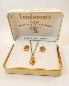 Vintage-Landstroms-10K-Black-Hills-Gold-Leaf-and-Grapes-Pendant-and-Earring-Set