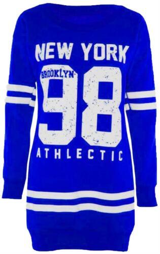 Neu Damen Übergröße Thermo Sweatshirt 98 New York Langärmelig Pullover Oberteile