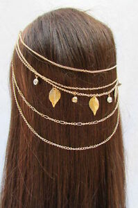 Fashion Jewelry Imported From Abroad Neu Damen Gold Metall Kopfkette Haarnadel Schmuck Klauen Blätter Silber Superior Materials