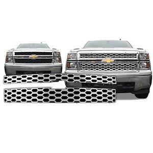 Chrome-Grille-Overlay-2-PCS-FITS-2014-2015-Chevy-Silverado-1500-WT-LT-LS