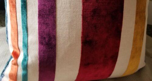 Lee Jofa Teller Stripe in JEWEL Striped Italian Velvet Custom Pillow Cover