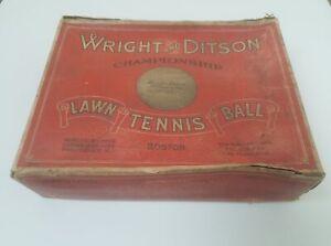 1914-1926-Rare-Wright-amp-Ditson-Championship-Tennis-Balls-Box-With-12-Balls