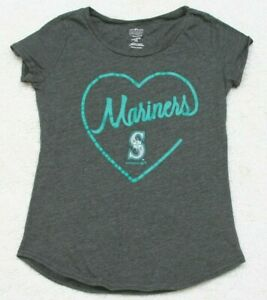 Seattle-Mariners-Gray-Kids-Graphic-Girls-Tee-T-Shirt-Top-Short-Sleeve-CottonPoly