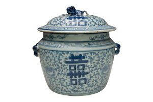 """Blue & White Porcelain Double Happiness Rice Jar with Lid 9"""" Tall"""