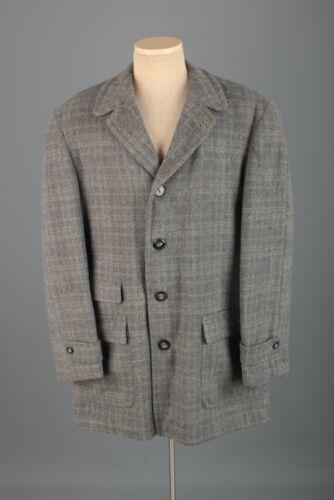 Men's 1950s Wool Grey Check Wool Car Coat Sz Large