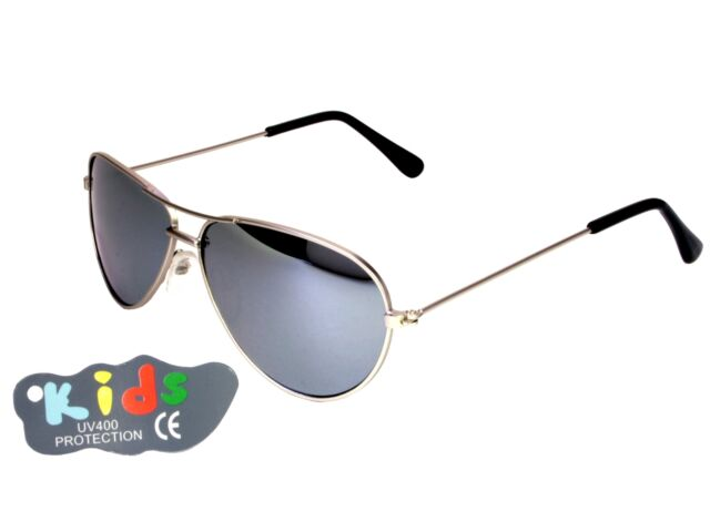 423c488edeab Kids Small Aviator Sunglasses 115mm Wide Mirror Lenses Silver Frame ...