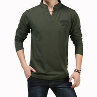 Brand Afs Jeep Men Fashion Long Sleeve Cotton Casual Solid V-neck T-shirts
