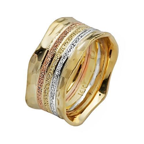 14k Yellow gold Wedding Ring Tri color Florentine Inlay Hammered Edged Wide 10mm