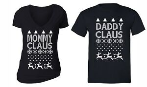 UGLY CHRISTMAS Sweater Snowflake Matching Couples Hoodie Mommy Daddy Claus