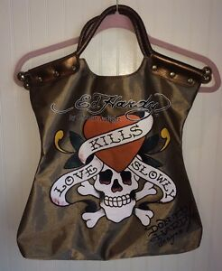 f079ab8f3e Ed Hardy Christian Audigier Gold Handbag Tote Carry Bag Purse Love ...