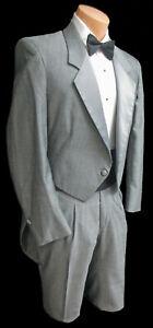 Men/'s White Tuxedo Tailcoat with Satin Lapels Long Tails Wedding Prom Mardi Gras