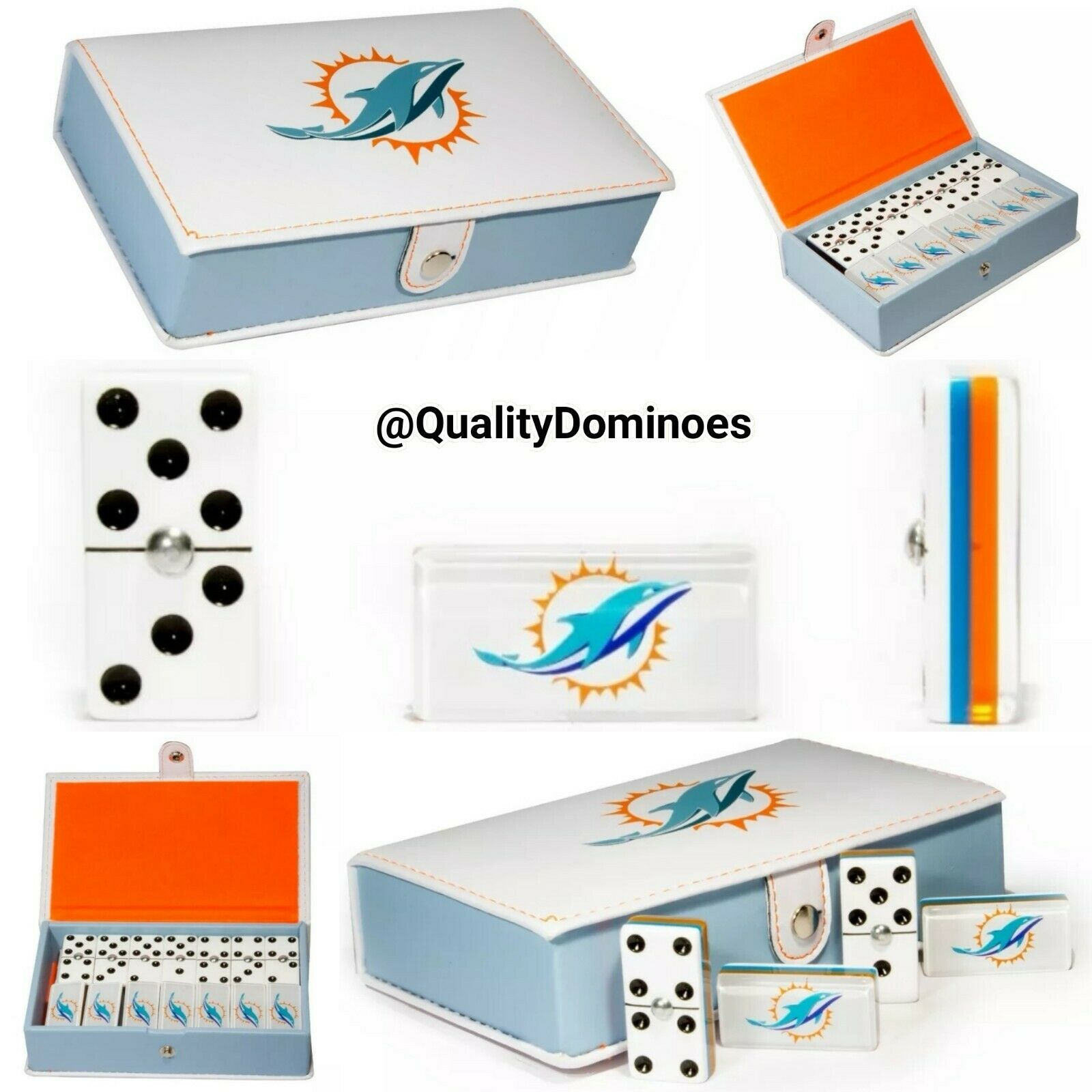 Miami Dolphins Domino Game Set Double Six Dominoes Man Men Father Dad Hot Gift