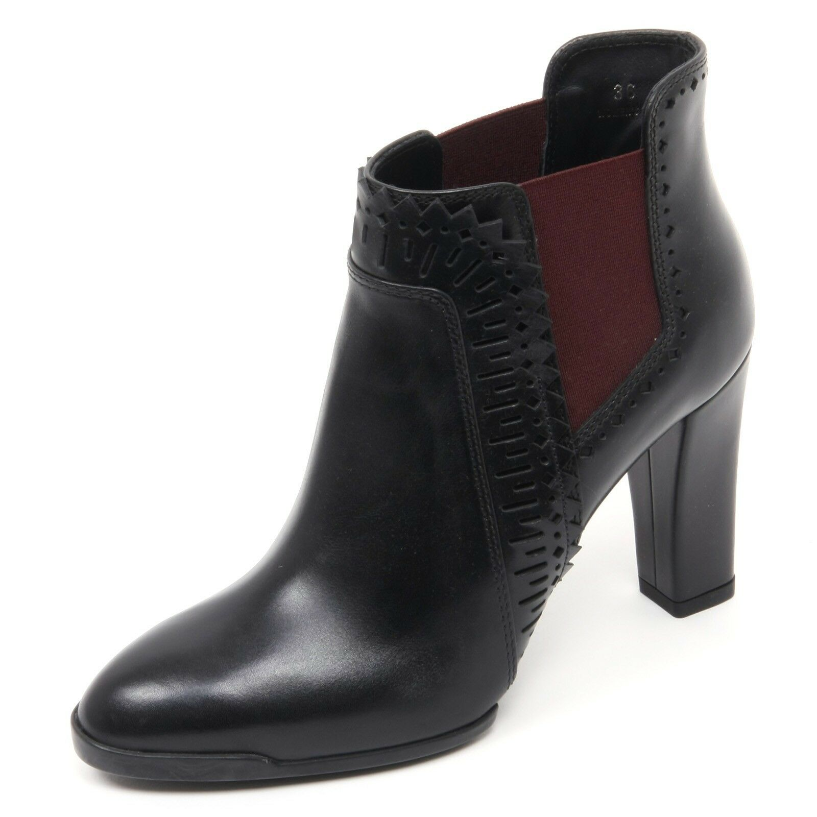 Grandes zapatos con descuento B8343 tronchetto donna TOD'S T95 scarpa nero/bordeaux boot shoe woman