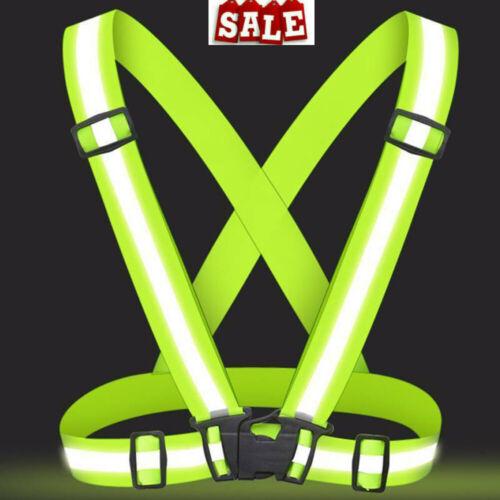 Hi Viz Vest High Safety Visibility Reflective Belt Running Cycling Work Strap NV