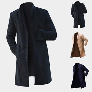 c5b9b6159652c Vintage Men s Trench Coat Winter Warm Long Jacket Single Breasted ...