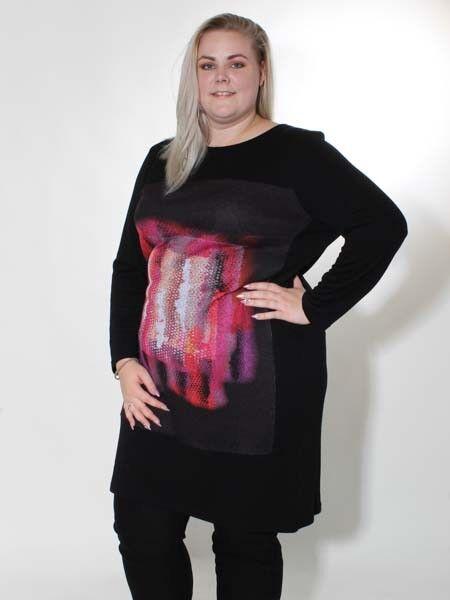 Kleid von Doris Streich Gr. 48 und 50 Langarm schwarz rot Strickstoff Jersey