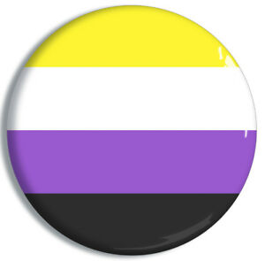 Non-binary Flag Badge 32mm Gender Expression Pin Button Genderqueer AFAB AMAB