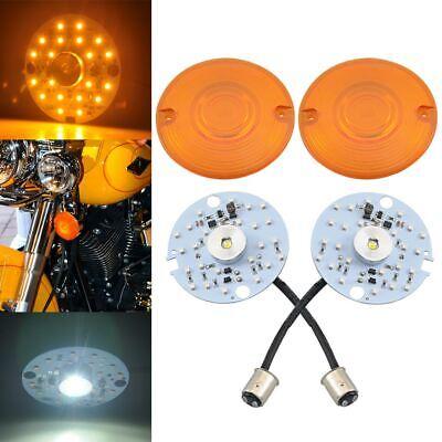 2Pcs Bullet Style 1157 White//Amber LED Turn Signal Inserts Fit Harley Davidson