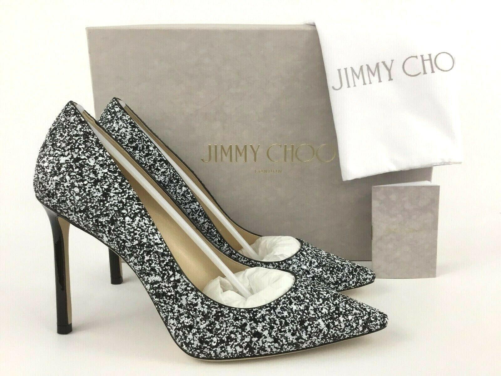 100% autentico Jimmy Choo ROMY Pointy Toe nero bianca Glitter Pump Pump Pump 38.5 8.5  vieni a scegliere il tuo stile sportivo