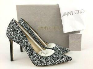 217e36ea093 Jimmy Choo ROMY Pointy Toe Black White Glitter Pump 38.5 8.5 ...