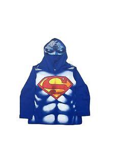 Marvel DC Comics Boys Superhero Long Sleeve Hoodie Costume Superman Shirt w Mask
