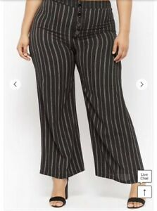 e1b637a265d Image is loading Forever-21-Plus-Size-Striped-Crepe-Wide-Leg-